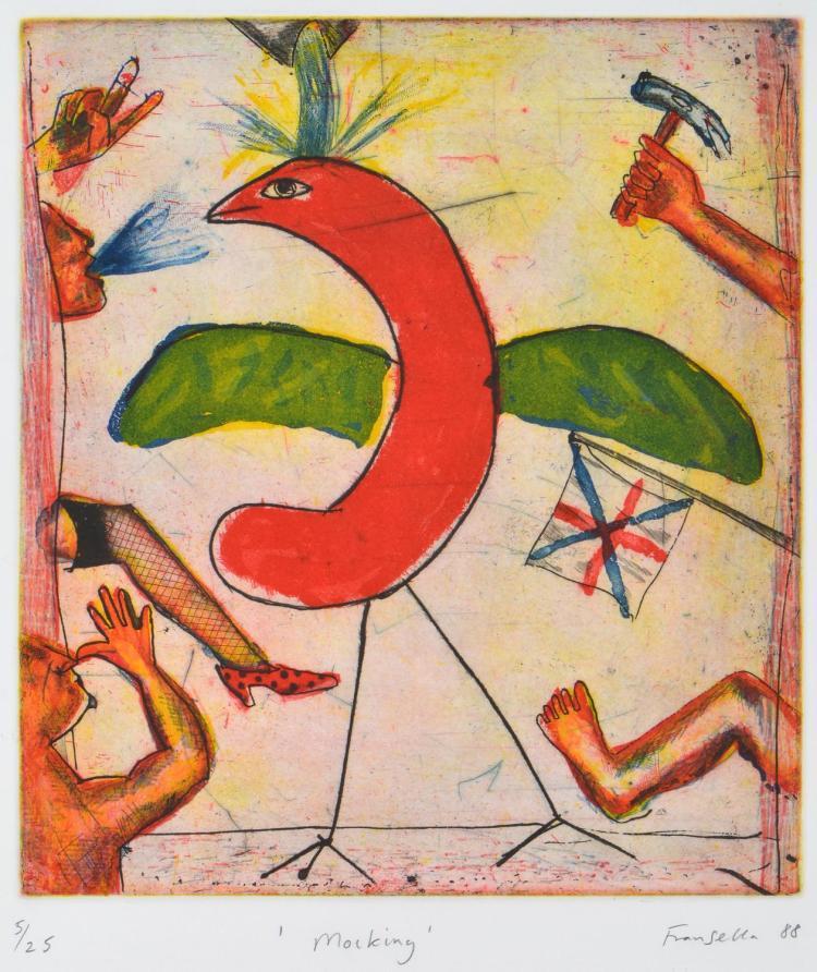 GRAHAM FRANSELLA (born 1950) Mocking 1988 etching edition 5/25