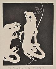 ERIC THAKE (1904-1982) The Plume Hunter 1951 linocut edition 5/40