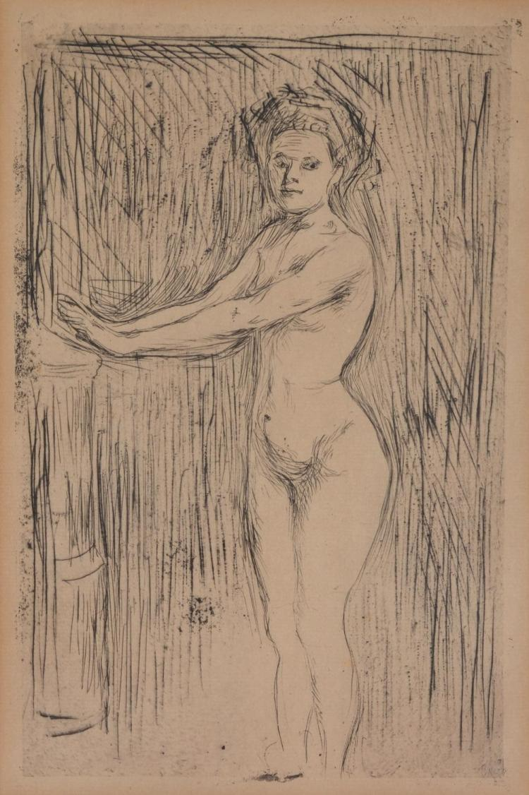EDVARD MUNCH (Norwegian,1863-1944) Naked Woman in Studio 1894 drypoint etching