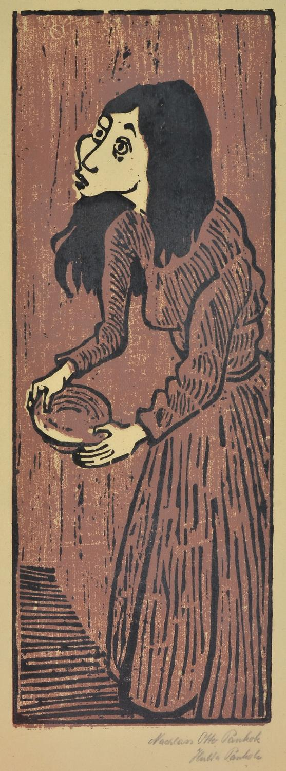 OTTO PANKOK (German, 1893-1966) Beggar Woman colour woodblock
