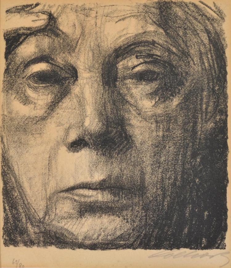 KÄTHE KOLLWITZ (German, 1867-1945) Self Portrait lithograph 67/80