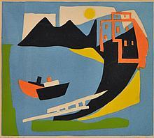 BARBARA BRASH (1925-1998) Harbour 1954 linocut edition 4/20