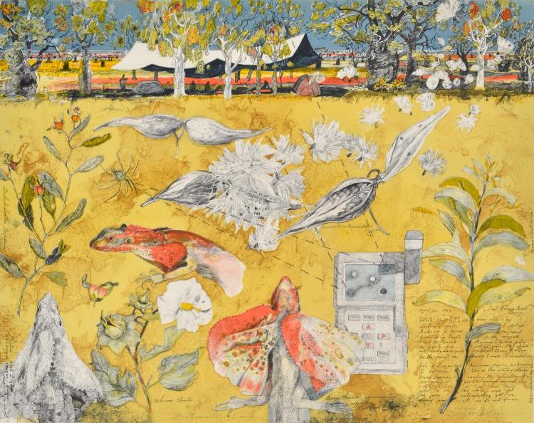 JOHN WOLSELEY (born 1938) Botanist''s Camp lithograph edition 3/60