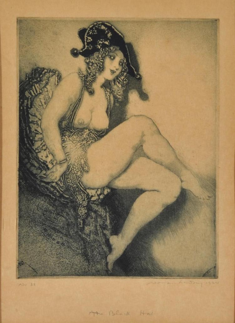 NORMAN LINDSAY (1879-1969) The Black Hat aquatint etching no.38