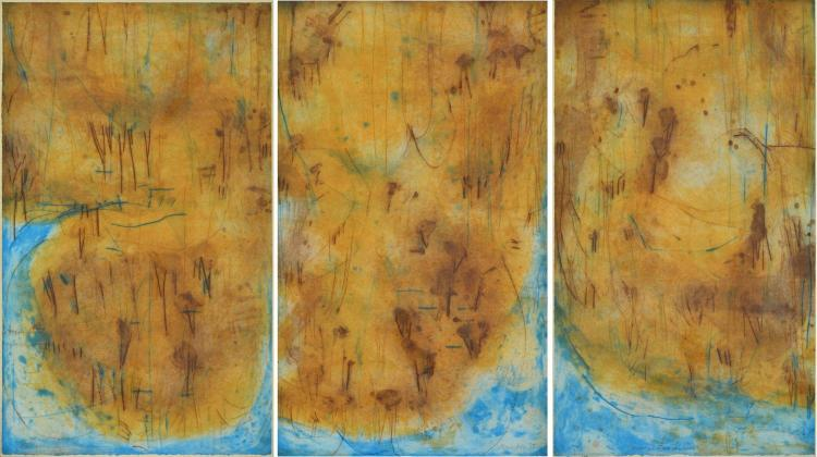 DAVID RANKIN (born 1946) Coastal Sandstone 1985 coloured etching (triptych) edition 36/50