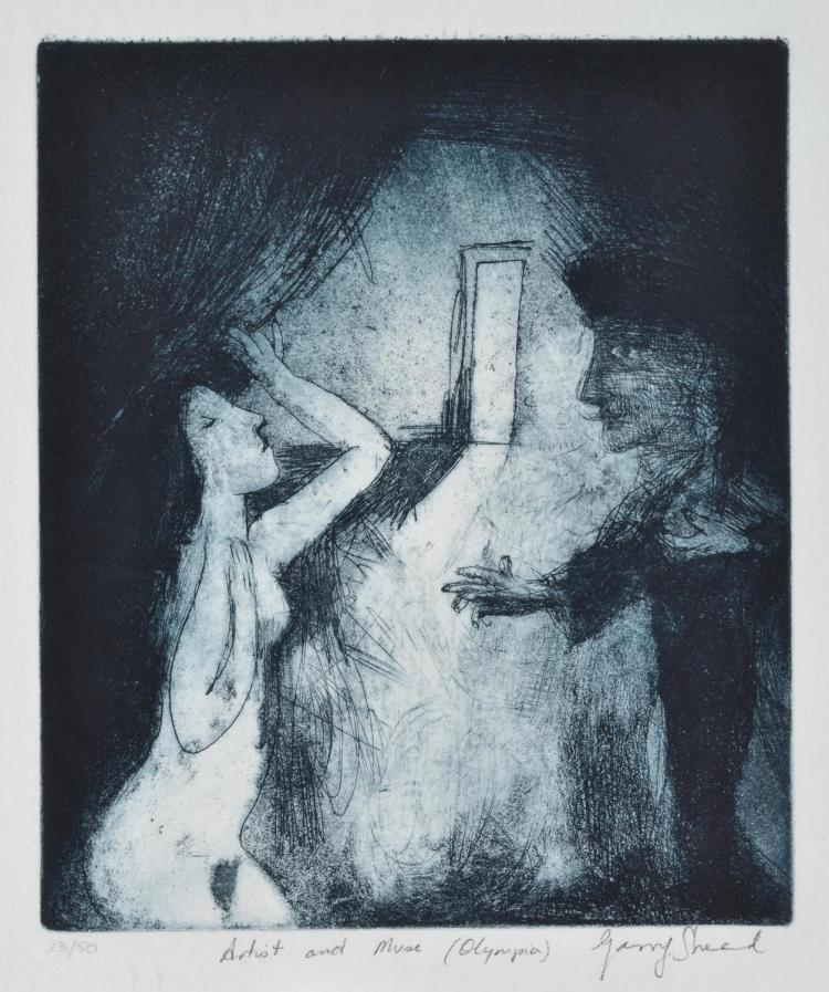 GARRY SHEAD (born 1942) Artist and Muse (Olympia) etching 13/50