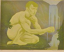 MURRAY GRIFFIN (1903-1992) Thirsty One 1936 linocut edition 12/20