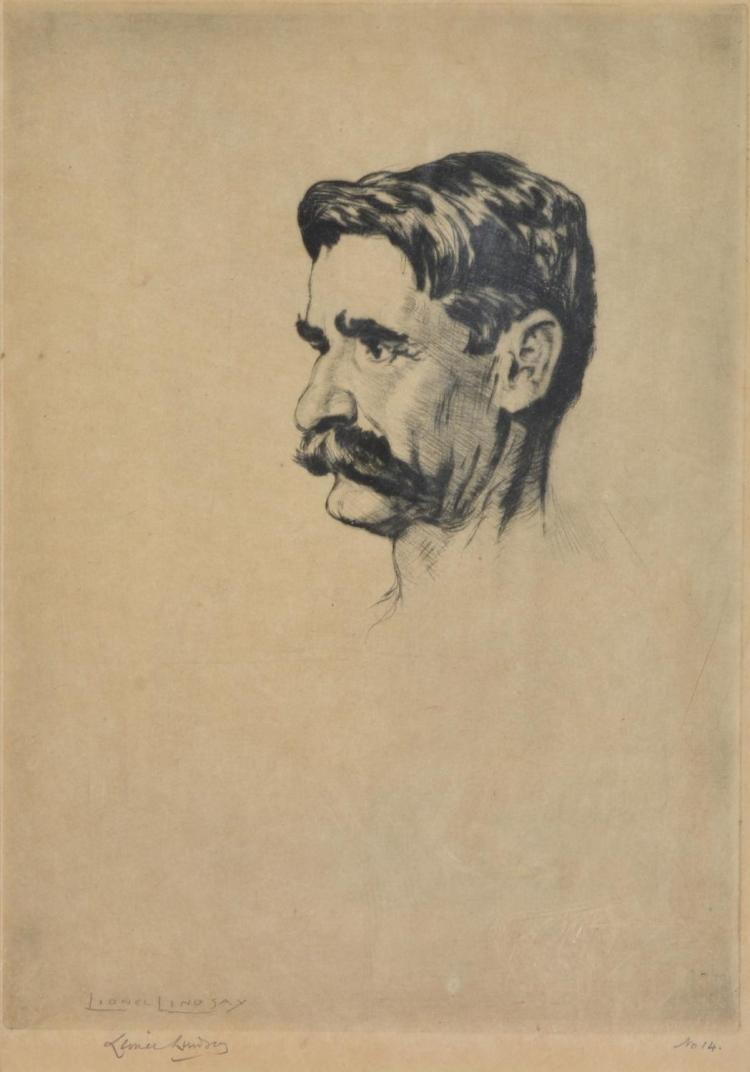 LIONEL LINDSAY (1874-1961) Henry Lawson etching no. 14