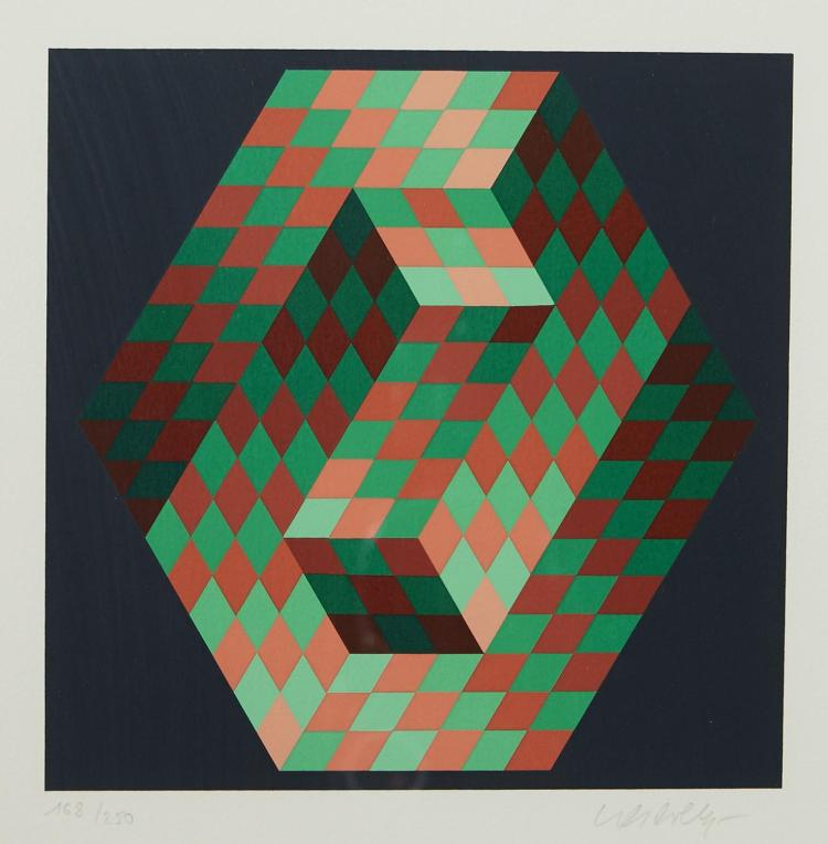 VICTOR VASARELY (Hungarian, French, 1906-1997) (LOCATION SYDNEY OFFICE - all enquiries phone 02 9362 9045) Composition No.3 1989 (fr...