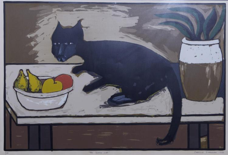 CHARLES BLACKMAN (born 1928) (LOCATION SYDNEY OFFICE - all enquiries phone 02 9362 9045) The Black Cat 1976 screenprint