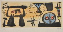 JOAN MIRO (Spanish, 1893-1983) Un Peeme Dans Chaque Livre etching and aquatint in colours edition 19/30