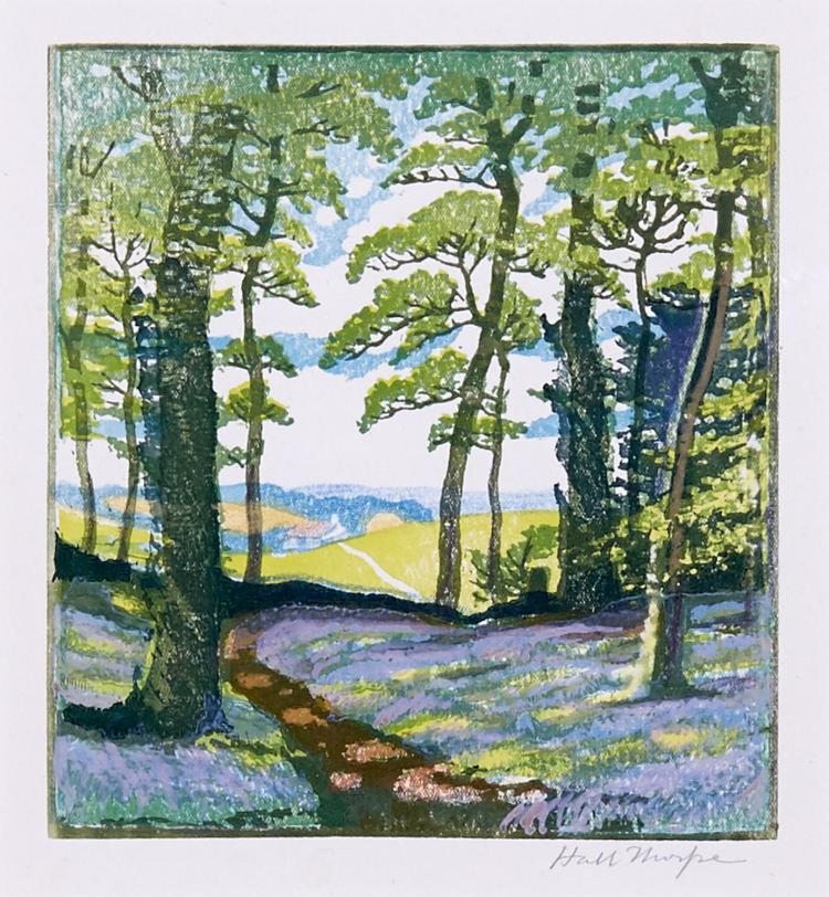 HALL THORPE (1874-1947) (LOCATION SYDNEY OFFICE - all enquiries phone 02 9362 9045) Bluebell Wood c.1922 woodcut