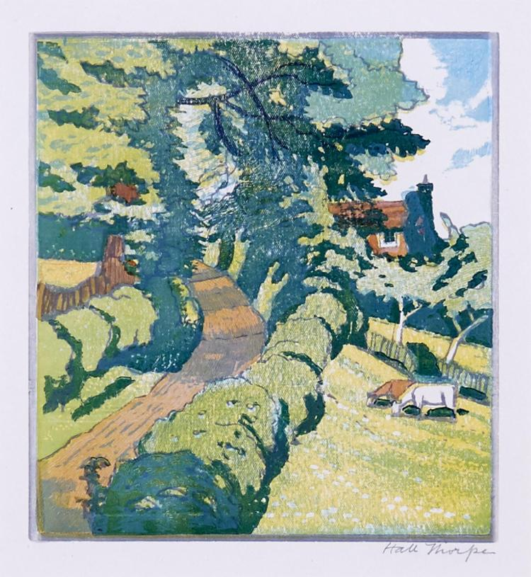 HALL THORPE (1874-1947) (LOCATION SYDNEY OFFICE - all enquiries phone 02 9362 9045) Country Lane with Cottage and Grazing Cattle c.1...
