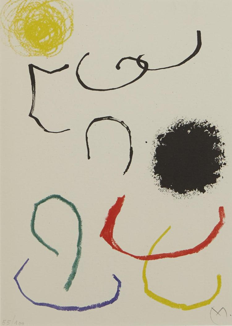 JOAN MIRO (Spanish, 1893-1983) (LOCATION SYDNEY OFFICE - all enquiries phone 02 9362 9045) Lithograph XI from Obra Inedita Recent 19...