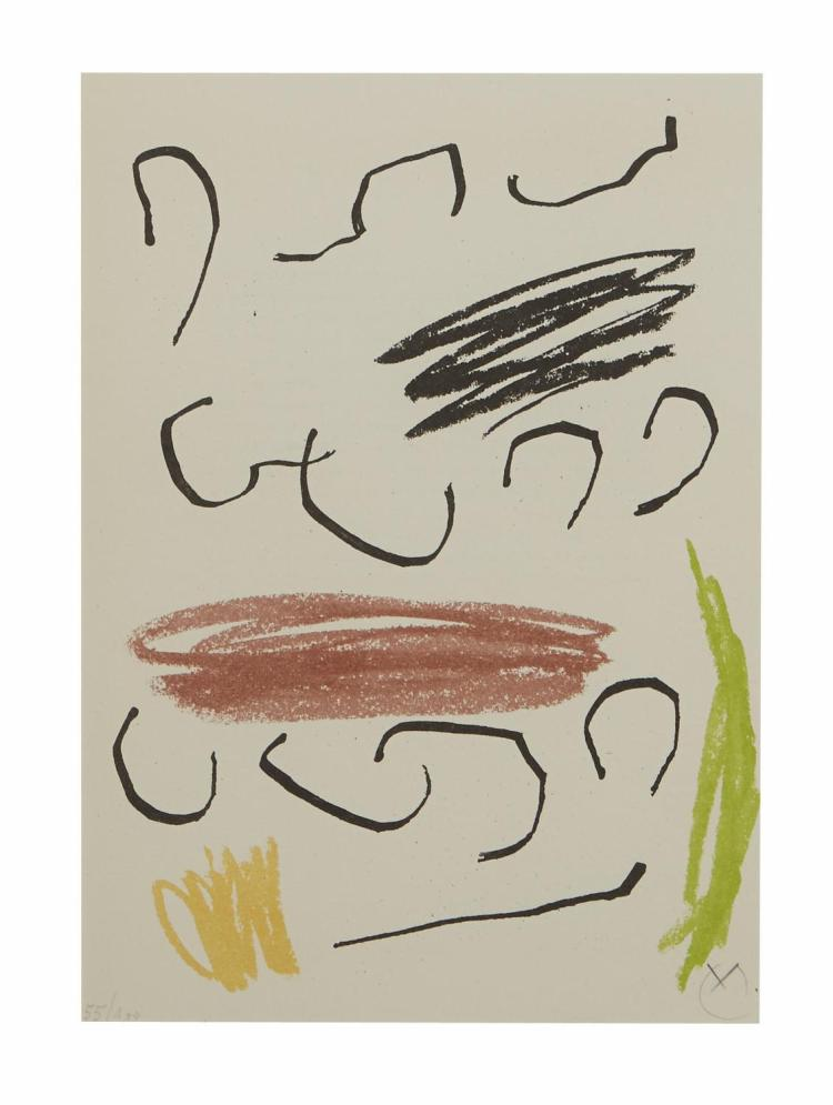 JOAN MIRO (Spanish, 1893-1983) (LOCATION SYDNEY OFFICE - all enquiries phone 02 9362 9045) Lithograph VII from Obra Inedita Recent 1...