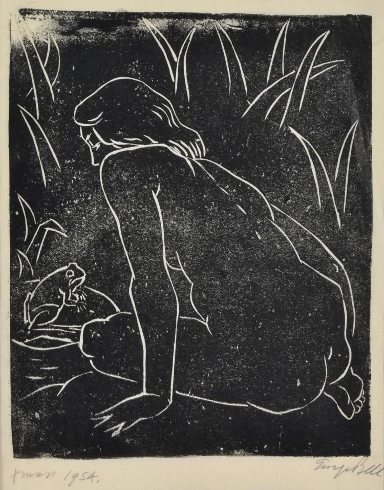 GEORGE BELL (1878-1966) Nude and Frog 1954 linocut