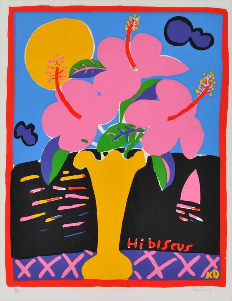KEN DONE (born 1940) Hibiscus, Morning Glories and Frangipani screenprint edition 338/645