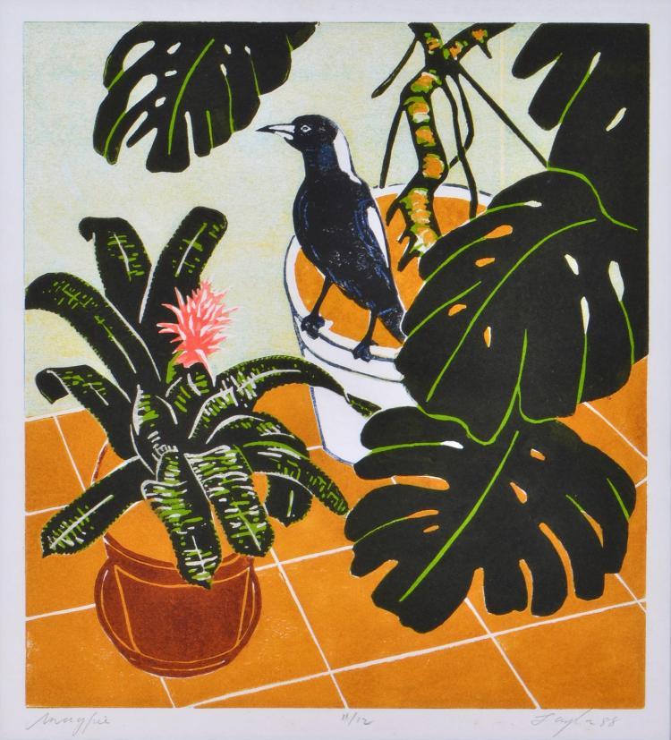 JOHN TAYLOR (born 1921) Magpie 1988 linocut