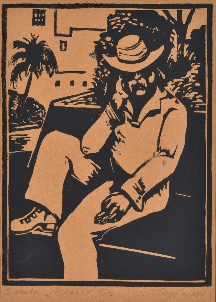 JOHN TAYLOR (born 1921) Siesta Mexico 2000 linocut edition 9/10
