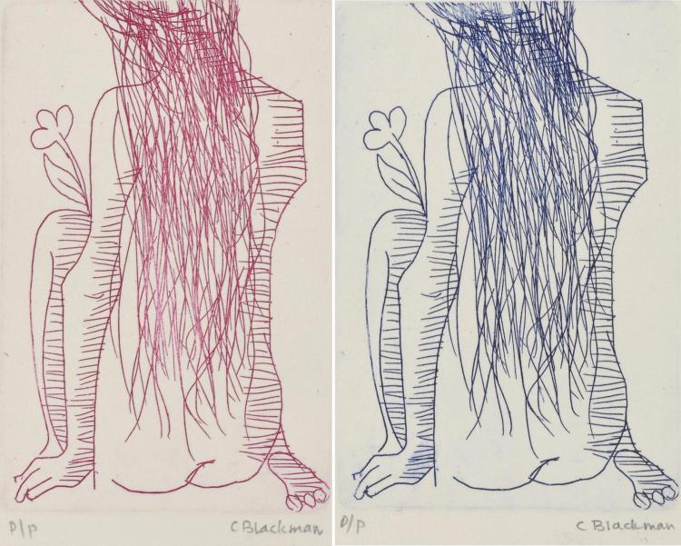 CHARLES BLACKMAN (born 1928) Pair of works: Purple Nude, Blue Nude etching P/P