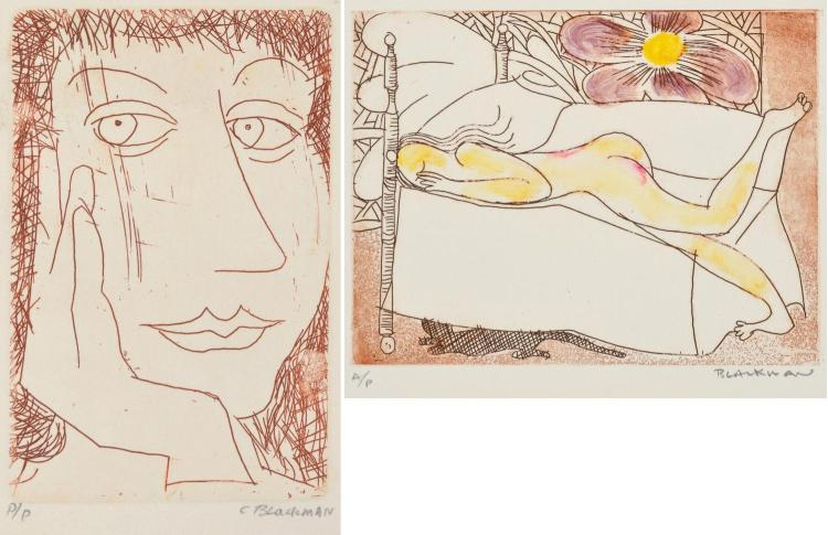 CHARLES BLACKMAN (born 1928) Pairs of works: Yellow Nude with Flower; Reflection on the hand etchings AP/PP