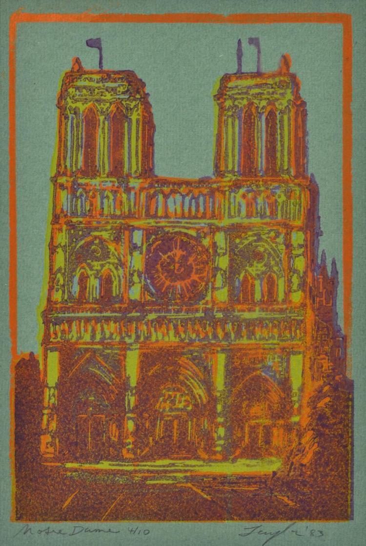 JOHN TAYLOR (born 1921) Notre Dame 1983 linocut 4/10