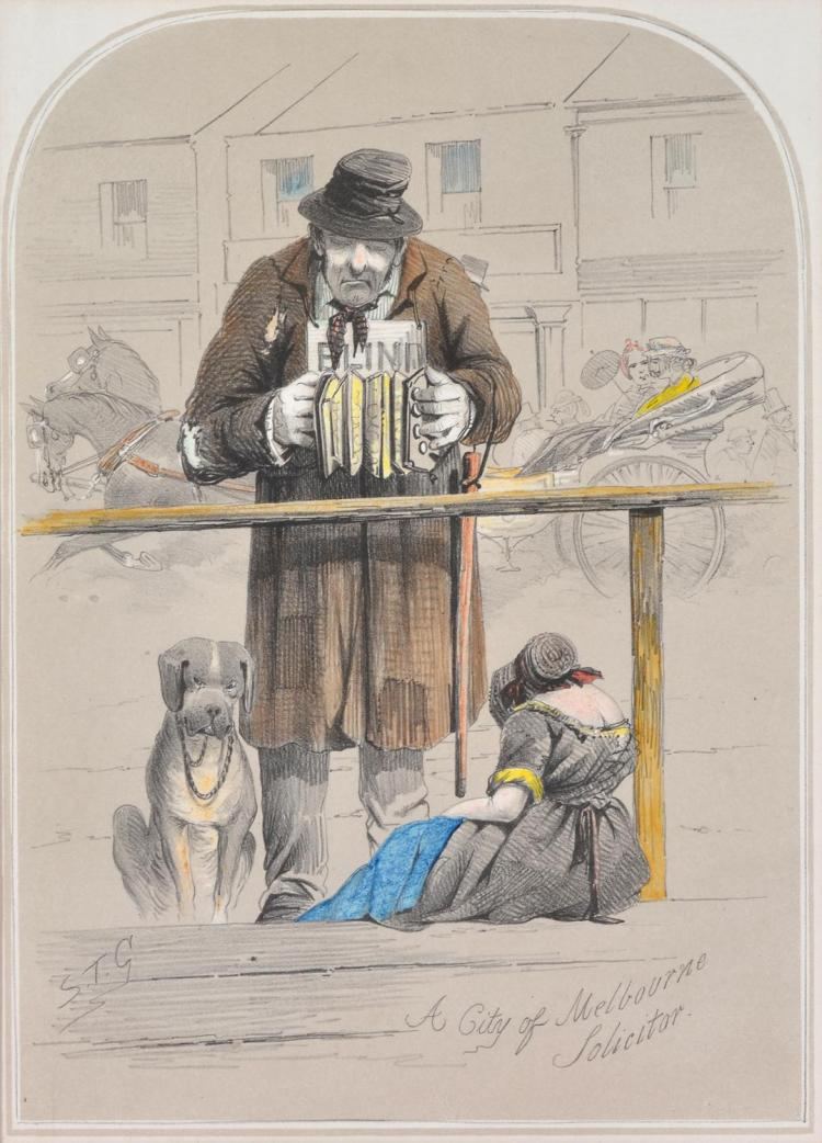 S.T. GILL (1819-1890) A City of Melbourne Solicitor hand coloured lithograph