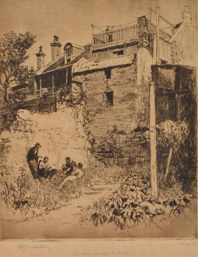 LIONEL LINDSAY (1874-1961) Sunday Morning, The Rocks etching 45/50