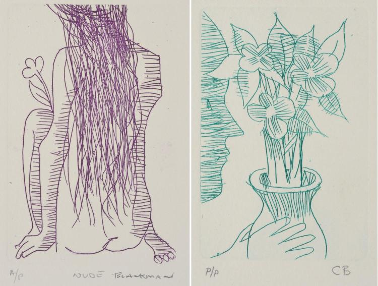 CHARLES BLACKMAN (born 1928) Pair of works: Purple Nude, Green Nude etching AP/ PP