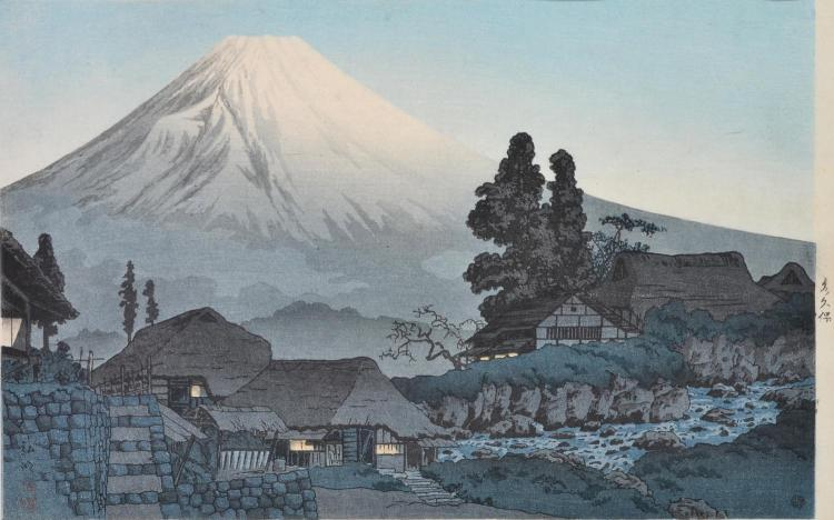 TAKAHASHI HIROAKI (Japanese 1871-1945) Mt Fuji in Evening from Kubo Village woodcut