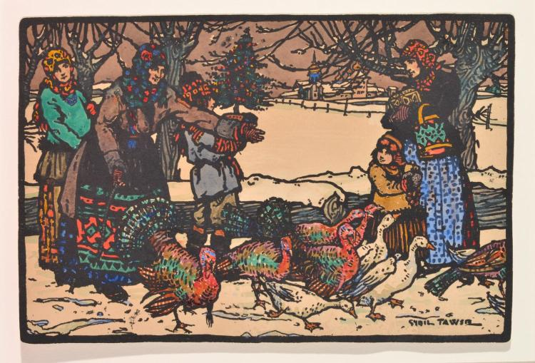 SYBIL TAWSE (ENGLISH 1886-1971) Village Christmas handcoloured linocut
