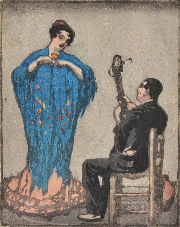 LIONEL LINDSAY (1874-1961) Dancer and Guitarist colour woodcut (Japanese technique)