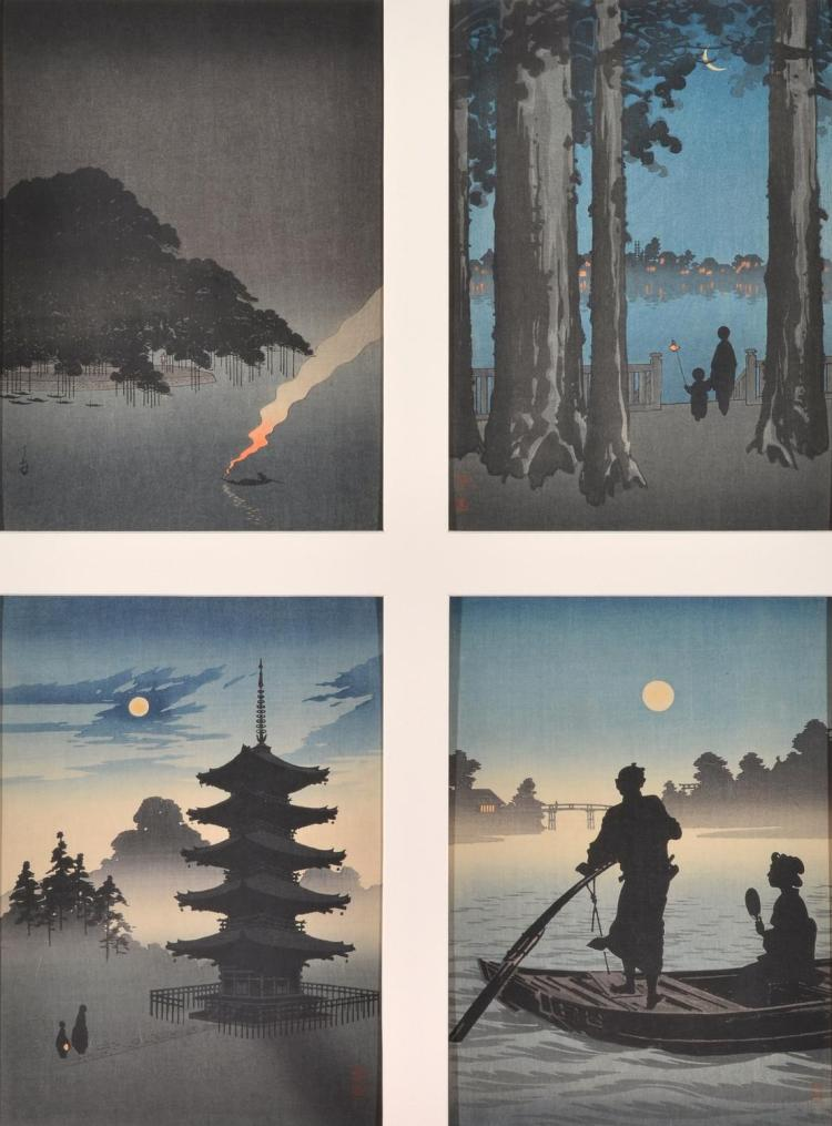 TAKAHASHI HIROAKI (Japanese 1871-1945) Japanese Scenes (4) woodcut (4) mounted together