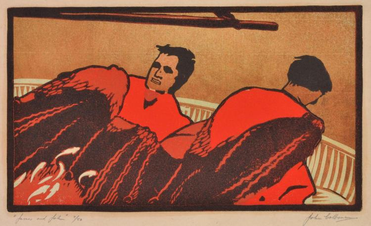 JOHN COLBOURN (1912-45) James and John linocut 5/50