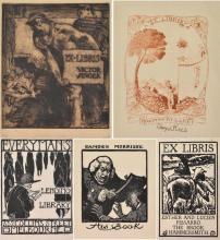 VARIOUS ARTIST'S Four Ex Libris woodblock, linocut and facsimile
