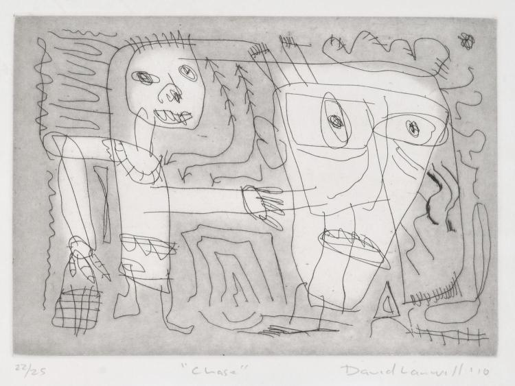 DAVID LARWILL (1956-2011) Chase 2010 etching 22/25