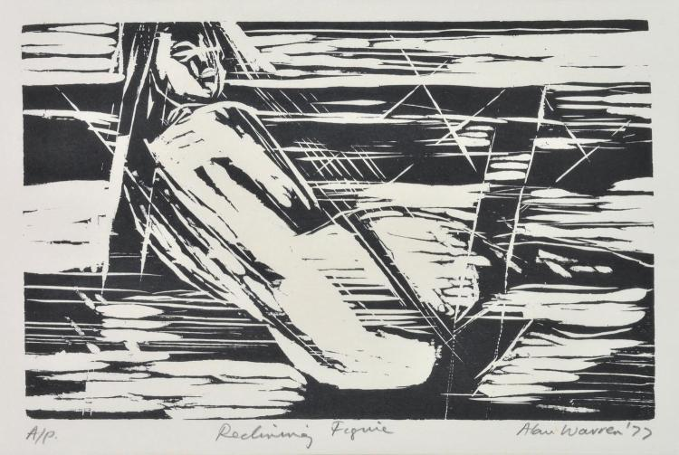 ALAN WARREN (1919-1991) Reclining Figure linocut AP