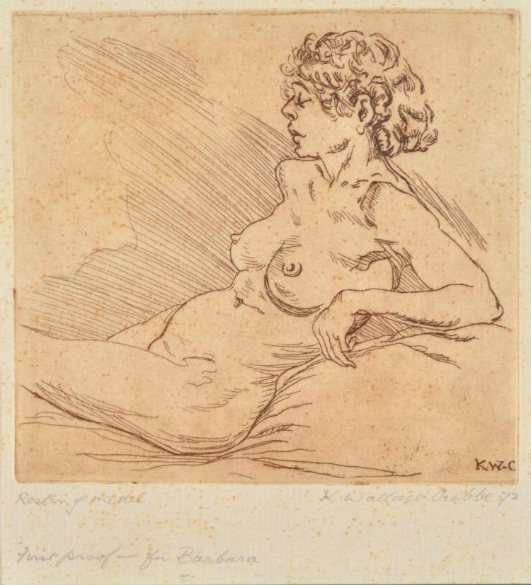 KENNETH WALLACE-CRABBE (1900-1984) Resting Model etching finish proof