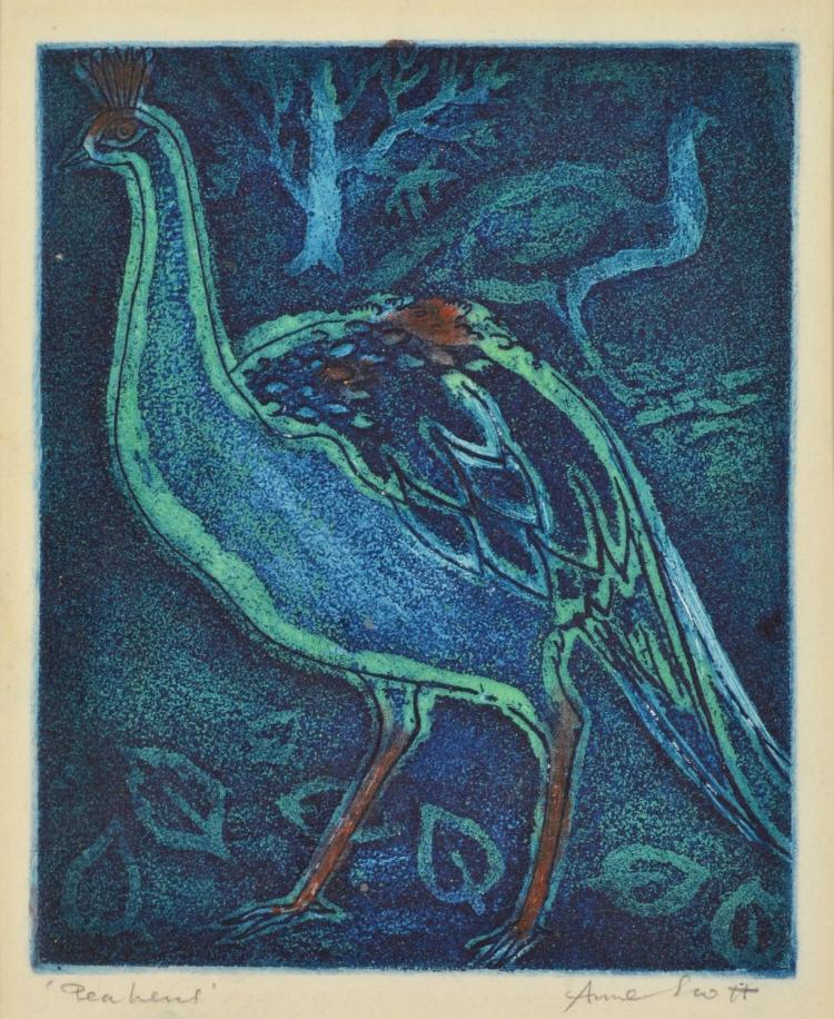 ANNE SCOTT Pea Hens etching