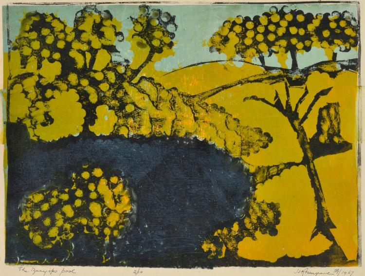 HARRY ROSENGRAVE (1899-1986) The Bunyiloo Pool 1967 linocut 2/10
