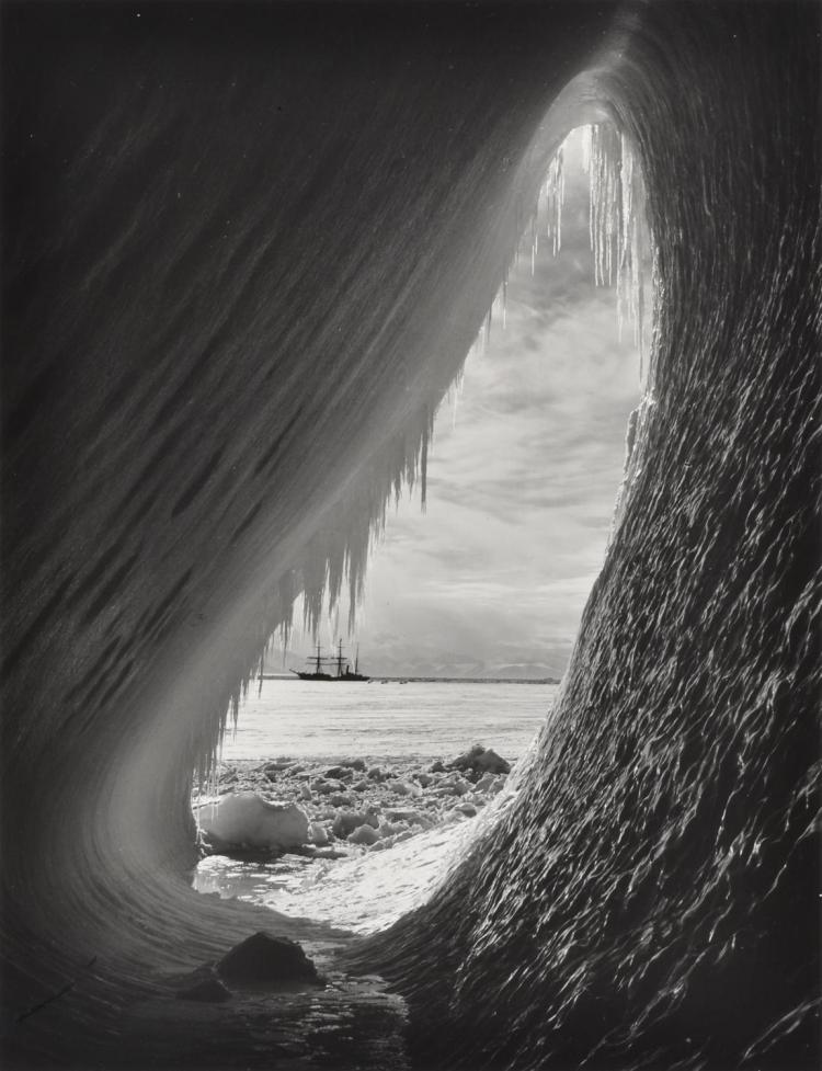 HERBERT PONTING (1870-1935) Ghetto In An Iceberg With Terra Nova In Distance silver gelatin print