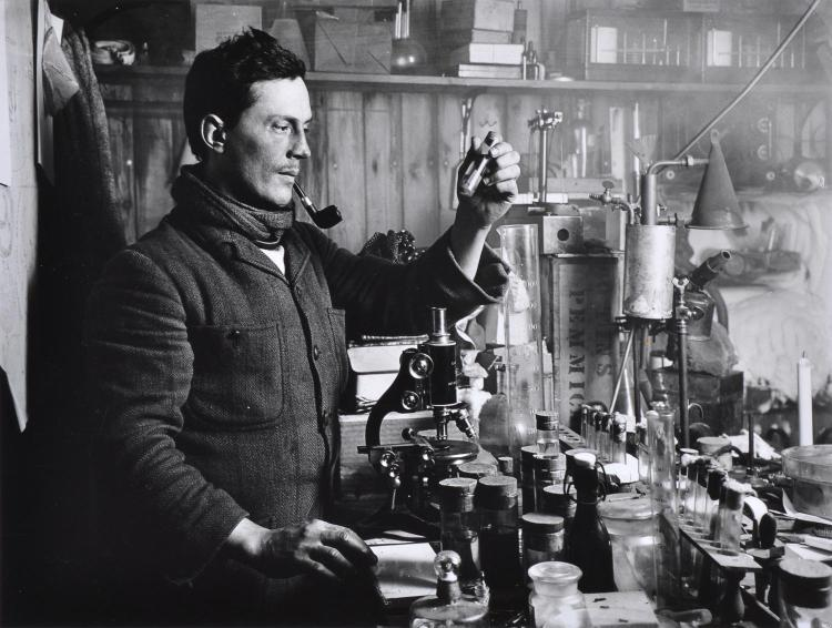 HERBERT PONTING (1870-1935) Dr Atkinson In His British Antartica Expeditions Camp Laboratory silver gelatin print