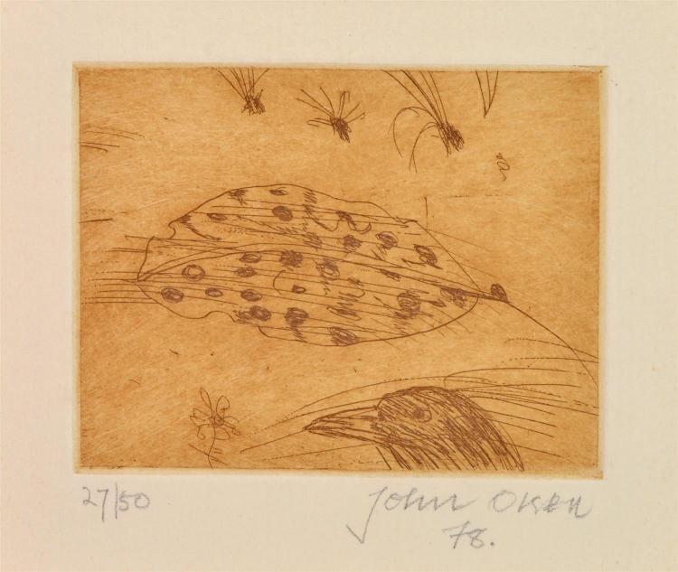 JOHN OLSEN (born 1928) Butcher Bird and Leaf 1978 etching 27/50