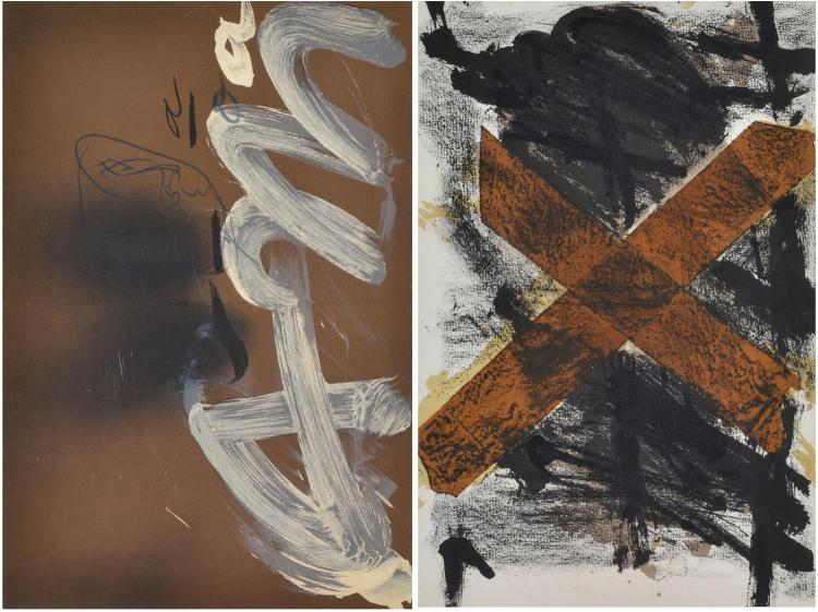 ANTONI TAPIES (SPANISH, 1923-2012) Untitled (2) lithograph (2)