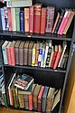 FOUR SHELVES OF ASSORTED BOOKS INCLUDING BIBLE, TWO VOLUMES OF POPULAR NATURAL HISTORY, NOVELS ETC