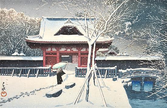 KAWASE HASUI (JAPANESE, 1883-1957) Snow in Shiba Park, Tokyo woodblock