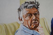 John Derrick, Tony, oil on masonite, 30 x 45cm