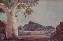 CLAUDE PANNKA, CENTRAL AUSTRALIAN LANDSCAPE, WATERCOLOUR, 33 X 50 CM