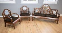 AN EARLY 20TH CENTURY CHINESE ROSEWOOD THREE PIECE SUITE WITH DALI DREAM STONE MARBLE