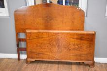 A MID CENTURY WALNUT DOUBLE BED FRAME
